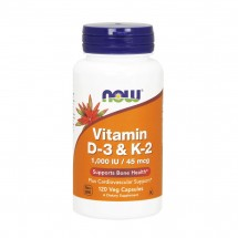 Vitamin D-3 & K-2 - 120 Vegetable Capsules