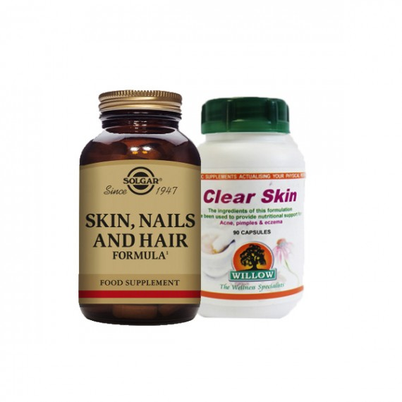 Skin Care Combo( Willow clear skin 90s & Solgar Skin, Nails and Hair 120s)